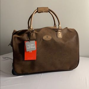 Brown Gino Ferrari Huge Tote Bag with Wheels